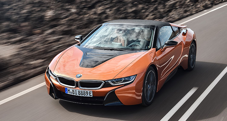 BMW i8 Convertible front side 4 roof up