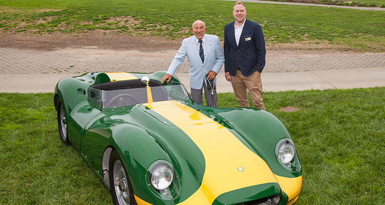 Lister CEO Lawerence Whittaker with Sir Stirling Moss